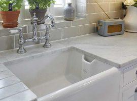 White natural stone kitchen worktop