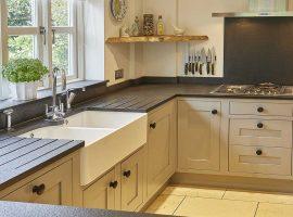 Large black natural stone kitchen work surface