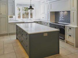 Large kitchen island in dark grey shaker style